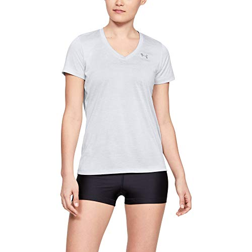 Under Armour Damen Tech Short Sleeve V-Twist kurzärmliges & atmungsaktives Laufshirt für Frauen, ultraleichtes T-Shirt mit Loser Passform, Grau (Halo Gray / / Metallic Silver (014), X-Small