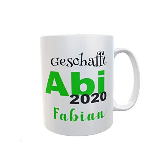 Tasse Abi 2020 mit namen personalisiert geschenk abitur schulabschluss geschafft grün