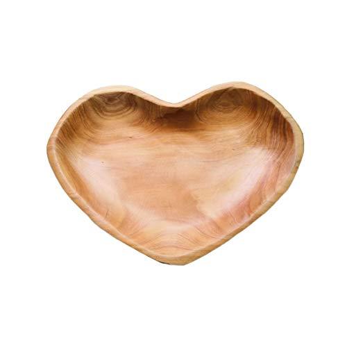 Bandeja de frutas en forma de corazón, plato de almacenamiento de madera, tallado Bandeja de artesanía de madera natural Bandeja de servicio para cenas en el sofá cama, desayuno, mesas de café