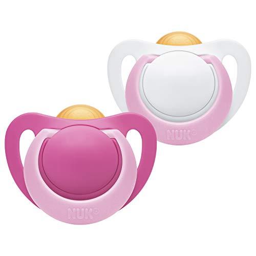 Nuk Genius - Chupete de látex, forma adaptada a la mandíbula, sin BPA, 0-6 meses, 2 unidades, para niñas, multicolor, 32 g