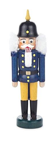 Nussknacker Figur König blau-gelb, mit Pickelhaube, von DREGENO SEIFFEN 14 cm – Original erzgebirgische Handarbeit, stimmungsvolle Weihnachts-Dekoration