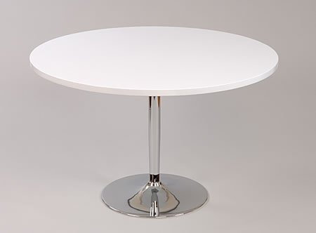 lonkt grote ronde tafel wit en chroom keuken en eettafel 120cm