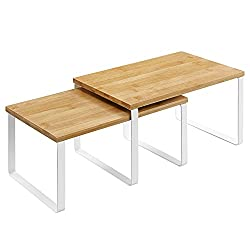 2 wood and white metal shelf riser organizing shelves