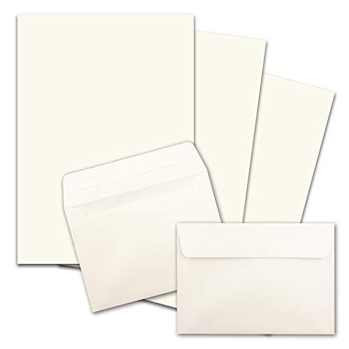 25x Briefpapier-Sets DIN A4 mit C6 Briefumschlägen, Haftklebung - Naturweiß - mattes Schreibpapier mit Kuverts - FarbenFroh by GUSTAV NEUSER