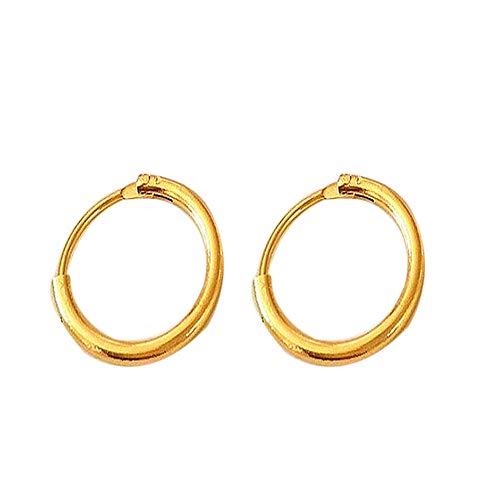 Pendientes Mujer Moda Círculo Pendientes Usar Pendientes Joyas Oro Plata Color Pendientes-Gold13Mm