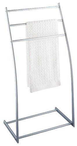 WENKO 16605100 Aluminio Handtuchständer Almeria mit 3 Stangen - Kleiderständer, pulverbeschichtetes Metall, 43.5 x 87.5 x 28 cm, Silber matt