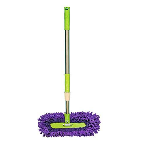 360 ° roterende mini-dweil, nat en droog, kan worden opgehangen en intrekbaar, kan worden gebruikt om vloeren, auto's en glas schoon te vegen (Color : Purple)