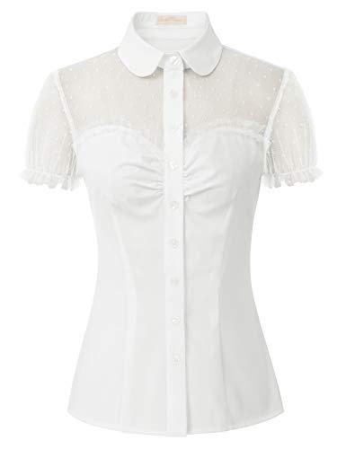 mujeres vintage Blusas de retazos para mujer, estilo vintage, manga corta, botones Blanco cremoso(574-8) S