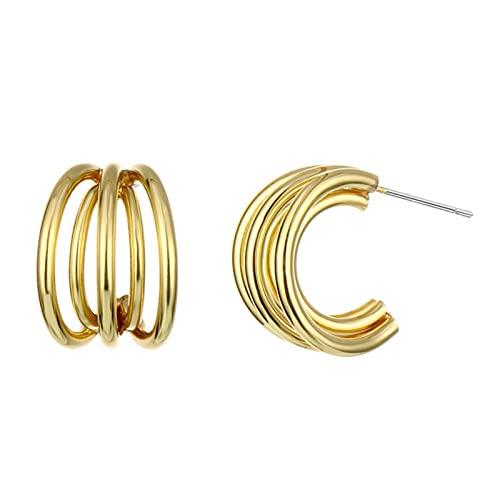 Vottle Pendientes de aro de aleación para mujer multicapa círculo Metal Drop Pendientes Accesorios de joyería