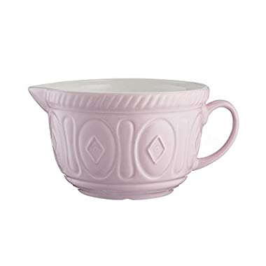 Mason Cash Color Mix Ceramic Batter Bowl; Large Enough to Whisk and Mix Ingredients; Pouring Lip and Handle; 8-Cups/Half Gallon; 10-1/4-Inches by 7-3/4-Inches by 5-Inches; Powder Pink