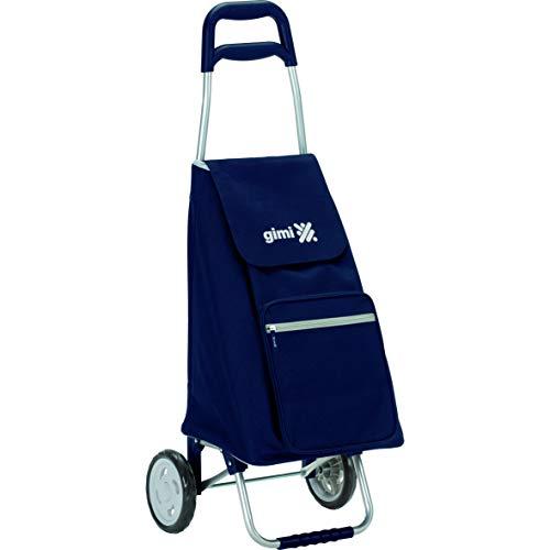 Gimi Argo Portaspesa, Carrello Spesa 2 Ruote, Richiudibile, Portata 30 kg, capacità 45 Litri, Poliestere, Blu, 37 x 33 x 95.5 cm