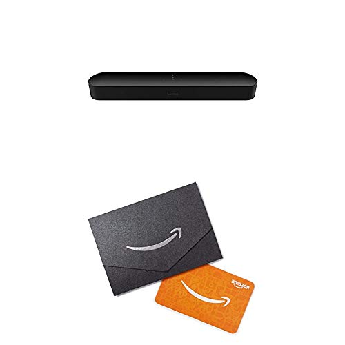 Sonos Beam - Smart TV Sound Bar with Amazon Alexa Built-in - Black (BEAM1US1BLK) with Amazon Gift Card Worth $10