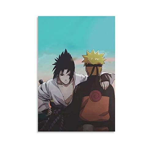 LINSHEN Póster de Naruto de anime Naruto y Sasuke con pintura decorativa en lienzo para pared o sala de estar, 20 x 30 cm