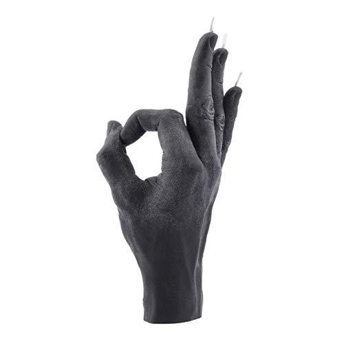 CandleHand Bougie artisanale OK – Grande main Taille 21 x 8 x 8 cm – Statue de décoration faite à la main – Anniversaire, bureau, pendaison de crémaillère, Cire, Rouge, Hand size