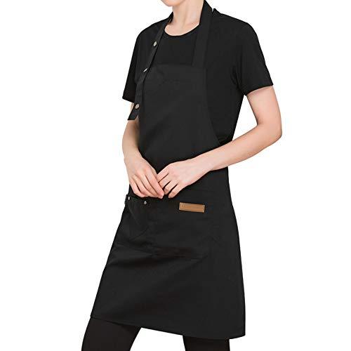Tongliang Tablier de Cuisine Professionnelle Bandoulière Réglable Tablier Femmes Hommes avec Poches Tablier Cuisinier Chef pour Restaurant Café Bistro École Collège Noir