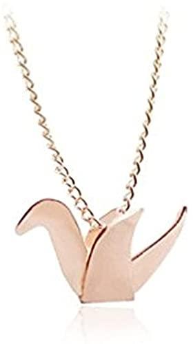 LKLFC Collar Mujer Collar Hombre Colgante Collar de Oro Rosa con grúa de Origami Regalo de Primer Aniversario Collar Regalo para Hombres Mujeres Niñas Niños