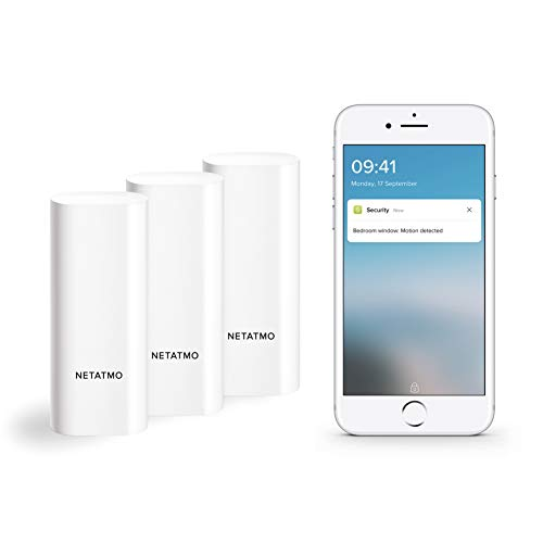 Netatmo Sensores Inteligentes para Puertas y Ventanas Netatmo, inalámbricos, de una pieza, pack de 3, con detección de vibraciones, DTG-EC