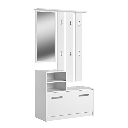 Selsey YESFIR – Garderobenset mit Schuhschrank und Spiegel, Weiß Matt, 85 cm