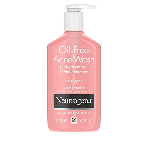 Neutrogena Oil-Free Salicylic Acid Pink Grapefruit Pore Cleansing Acne Wash and Facial Cleanser...