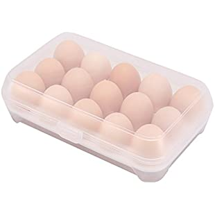 iTemer Eggs Storage Container Plastic Eggs Storage Box Single Layer 15 Grids Non Slip Refrigerator Cover Portable Egg Case 1 PC (White):Kisaran