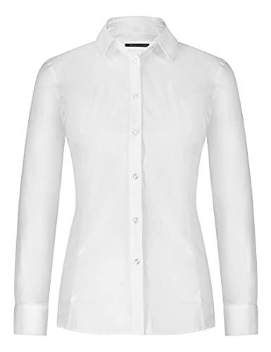 Soulution Damenbluse - Slim-Fit-Bluse/Hemd/Shirt für Freizeit, Business, Hochzeit, Festliche Anlässe - Elegant, hochwertig, nachhaltig - Weiß - M