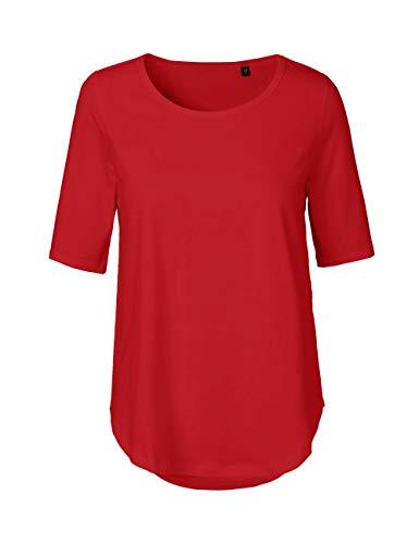Green Cat Damen Halbarm T-Shirt, 100% Bio-Baumwolle. Fairtrade, Oeko-Tex und Ecolabel Zertifiziert, Textilfarbe: rot, Gr.: M