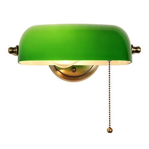 Newrays Green Glass Bankers Lampenschirm Verstellbare Wandleuchte mit Zugkettenschalter Fest verdrahtet für Schlafzimmerleuchte