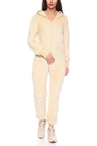 Crazy Age Damen Jumpsuit aus Samt (Nicki, Velvet) Wohlfühlen mit Style. Elegant, Kuschelig, Weich. Overall, Ganzkörperanzug, Jogging - Freizeit Anzug, Onesie (Beige, M)