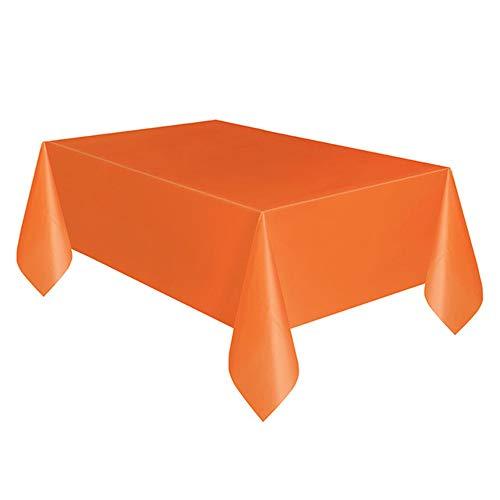 YUANYOU Mantel rectangular de plástico para mesa, fácil de limpiar, color rojo, blanco y negro, para cumpleaños, boda, Navidad, ropa (183 x 137 cm), Naranja, 137*183cm 4pcs