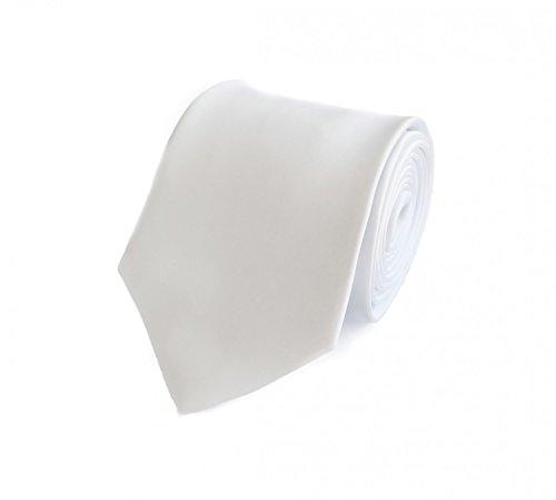 Fabio Farini - corbata simple y elegante en un solo color en diferentes colores y anchos a elegir de color Blanco 8cm