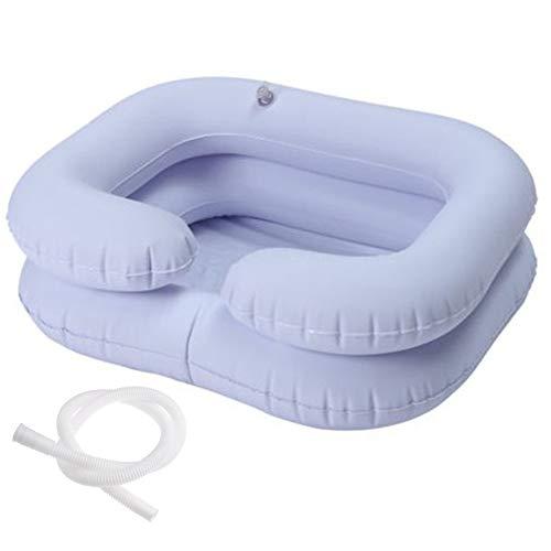 FLOX Aufblasbares Haarwaschbecken Tragbares Shampoo-Becken PVC mit 2 aufblasbaren Kammern und 1 Aussparung für ältere Duschen am Bett Camping Camping Soft & Lightweight Inflatable Tub