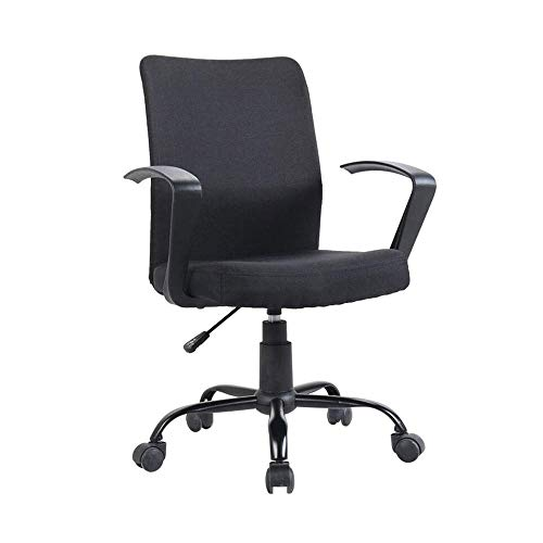 Oficina de lino de tela Ejecutivo / silla de la computadora con los brazos - ergonómico silla giratoria asiento Asiento transpirable y Back soporte lumbar, Presidente Administradores ( Color : Negro )