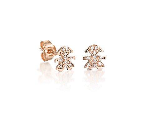Le Bebè - Mono orecchino Le Bebè bimba in oro rosa 18 kt carati e diamanti