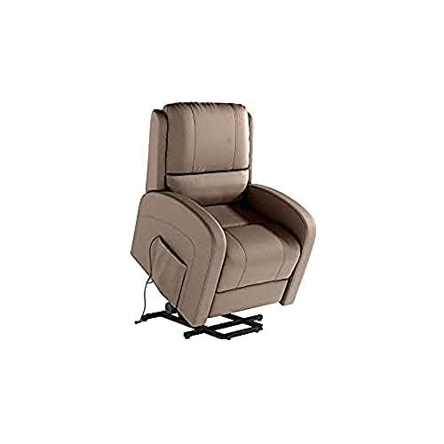 Shiito.- Sillón Relax eléctrico, sillón reclinable función elevapersonas Modelo Palermo en Tela Color Tortora