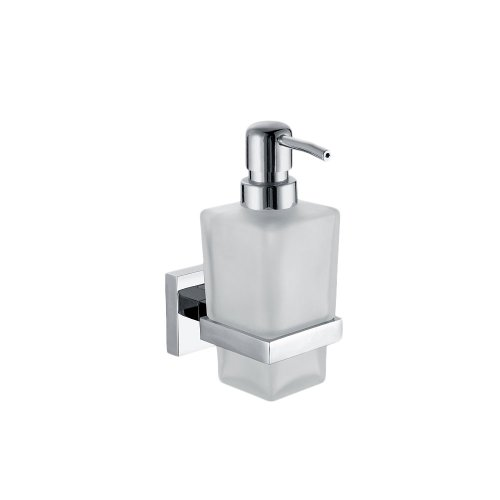Wall Mounted Soap Dispensor in Frosted Glass with Polished Chrome Holder