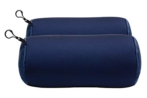 World's Best 2pcs Microbead Bolster Tube Pillows, Smooth Cool Touch Fabric, Neck or Back Support Pillows, Hypoallergenic, Navy