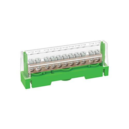 Arnocanali T1611A - Regleta de tierra para conexiones equivalentes con tapa, con barra de latón de 11 orificios, multicolor