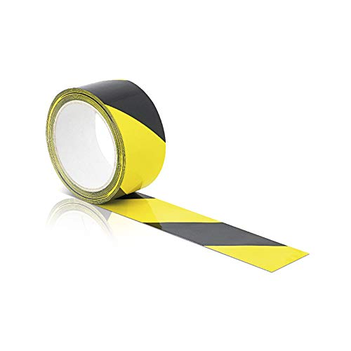 ERBI [33m x 50mm] Bodenmarkierungsband schwarz-gelb selbstklebend I Bodenklebeband zur Boden- und Sicherheitsmarkierung I Markierungsband, Klebeband