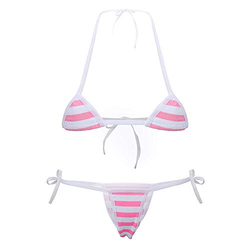 Cute Sexy Anime Lingerie Bra and Panty Set Lolita Cosplay Micro Underwear Suit Kawaii for Women (Pink Stripe(Mini))