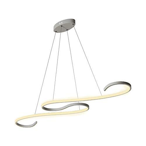 46W LED Lumière pendante pour Îlot de cuisine Table de salle à manger Bar Salon Bureau Étude Lustre Moderne Bague Art Lampe suspendue Blanc Abat jour Réglable en hauteur, Dimmable avec télécommande