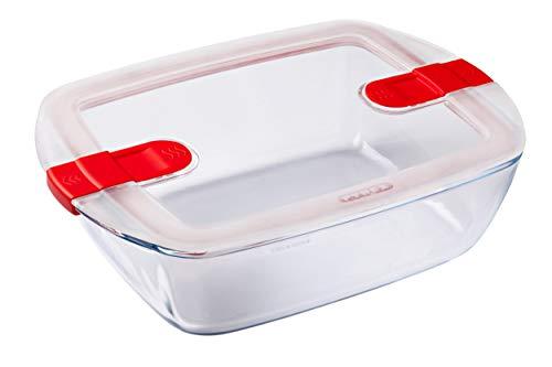Pyrex - Cook & Heat - Plat Rectangulaire en Verre avec Couvercle Hermétique Spécial Micro-Ondes – Boîte de Conservation – Cuisinez au Four, Conservez et Réchauffez