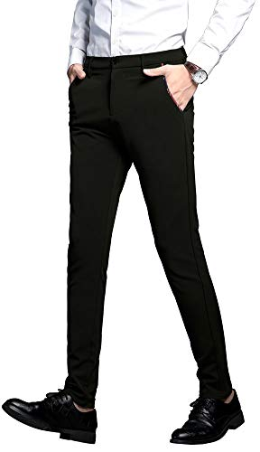 Plaid&Plain Men's Stretch Dress Pants Slim Fit Skinny Suit Pants 7104 Black 36W30L