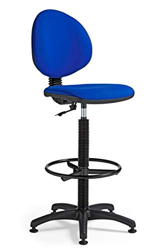 Office Pro Taburete ergonomico y Giratorio con Respaldo, diseno Sencillo de Color Azul Ideal para la Oficina, Regulable en Altura, aro reposapies y Base de 5 radios con topes.