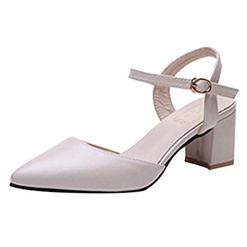 Damen Spitze Absatzschuhe mit Blockabsatz Pumps Slingpumps Mittelhohe Elegante Schuhe Bequem Frühling Sommer Sandalen Celucke (Beige, EU37)