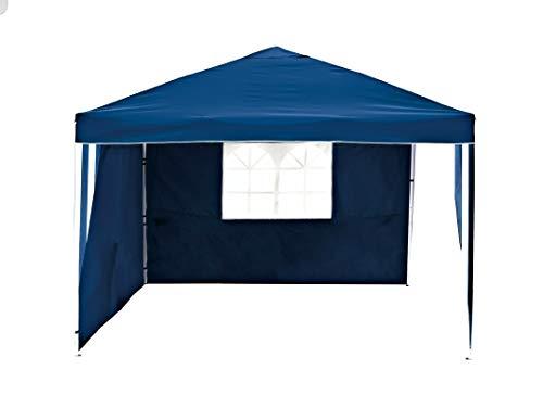 Florabest Faltpavillon aus Aluminium, 3 x 3 m, Marineblau, 2 Seitenteile, Fenster, Sonnenschutz, Whirlpool-Abdeckung, Gartenmöbel für Partys, einfache Montage ohne Werkzeug
