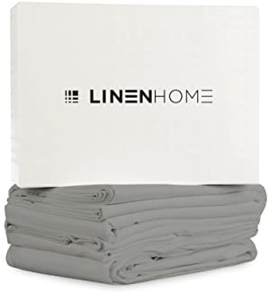 Linen Home 800 Thread Count Egyptian Cotton Queen Sheets, Silver: 4 Piece, Breathable Deep Pocket Bedroom Sheets Set with Satin Weave Fitted and Flat Sheet and Two Pillowcases