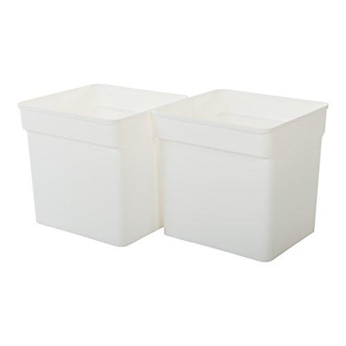 IRIS 131644, 2er-Set Aufbewahrungsboxen / Fächer für Kallax 'Inner Box', für offene Regale, 31,5 L, Plastik, weiß, 31,8 x 31,4 x 37,5 cm