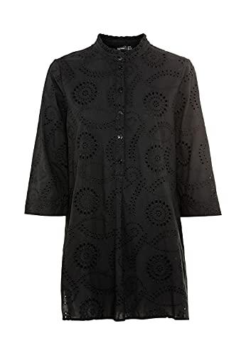 HALLHUBER Long-Bluse mit Perlmuttknöpfen gerade und weit geschnitten schwarz, 36