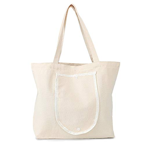 Foldable Blank Tote Canvas Bag, Segarty 15.7x13.4 inch Cotton Bags with Handles, 12Oz Heavy Duty Reusable Washable Grocery Shopping Bags Plain Bag for Women Teacher DIY Art Craft Painting Embroidery