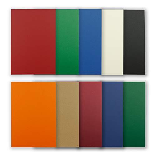 50 Blatt Tonkarton DIN A4 - Bunt 10 Farben Dunkel - 240 g/m² dicker Bastelkarton - 21,0 x 29,7 cm Pappe zum basteln für Fotoalbum Menükarte Bedruckbar DIY kreativ sein